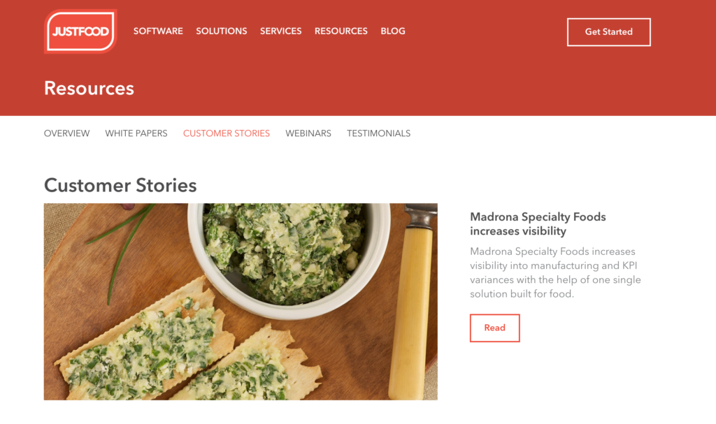 justfood customer food industry case studies