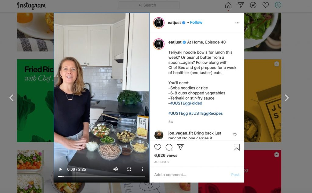 woman hosting just egg cooking show on instagram
